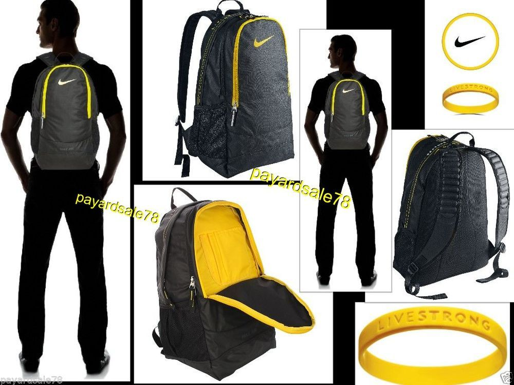 Nike max air livestrong backpack book bag school sports travel gym ...