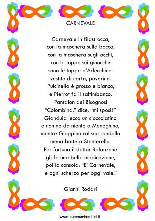 Carnevale in Filastrocca, di Gianni Rodari   Filastrocche