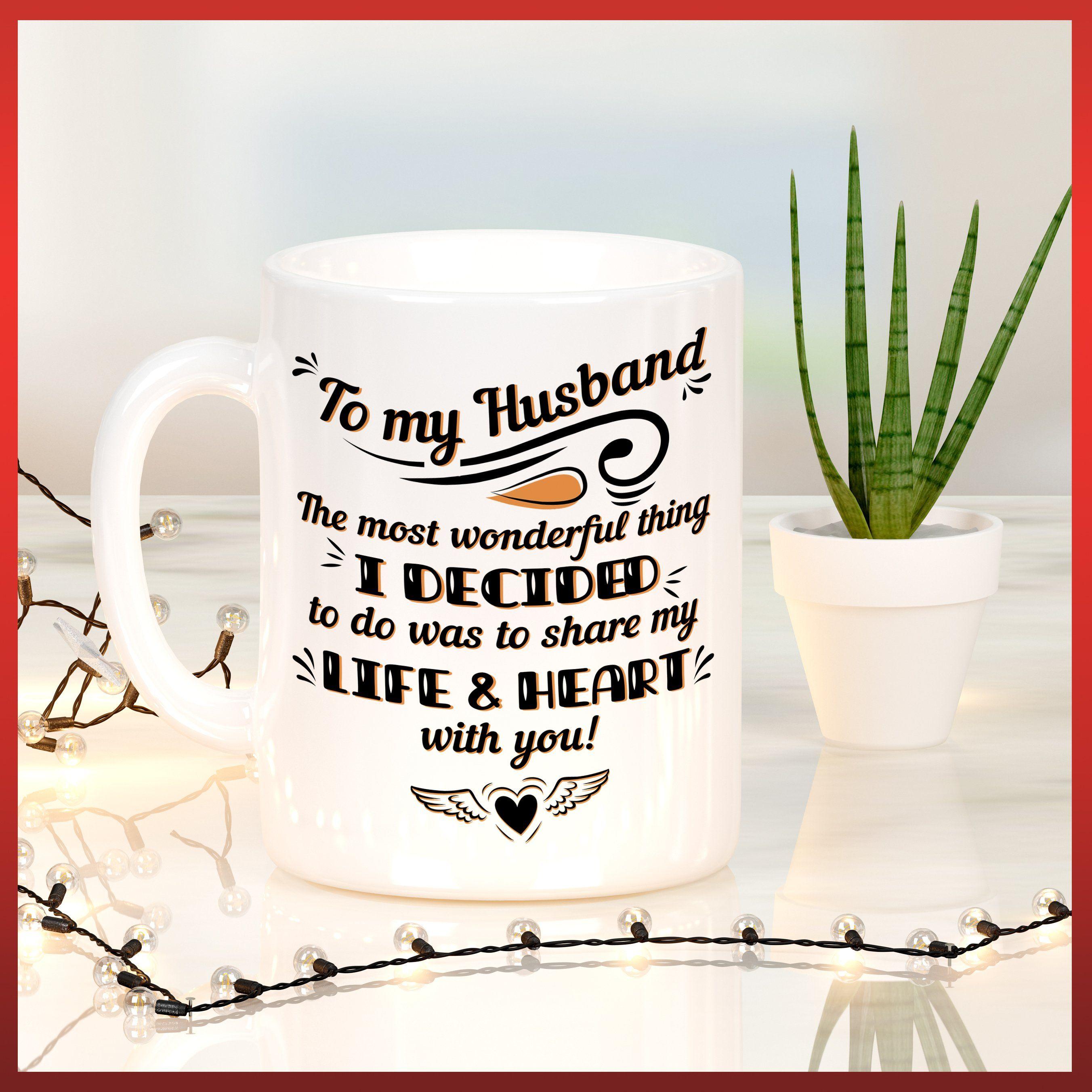 MKTee Husband Mug Love Quote Funny Quote Share My Life And Heart Ceramic Coffee Mug Tea Cup