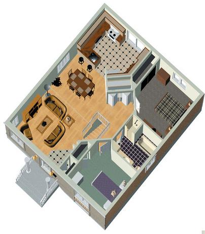Plano 3d 1a casa planos de casas chicas planos de for Planos de casas pequenas de una planta
