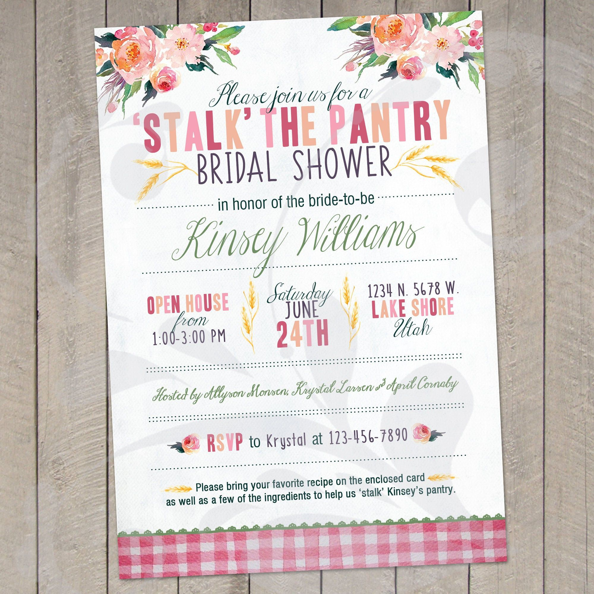 Stalk The Pantry Bridal Shower Invitation Recipe Card Shower