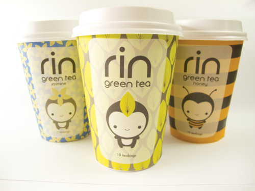 RIN GREEN TEAPackaging Design Unique green tea packaging with cute shelf appeal for young women  tea enthusiasts.