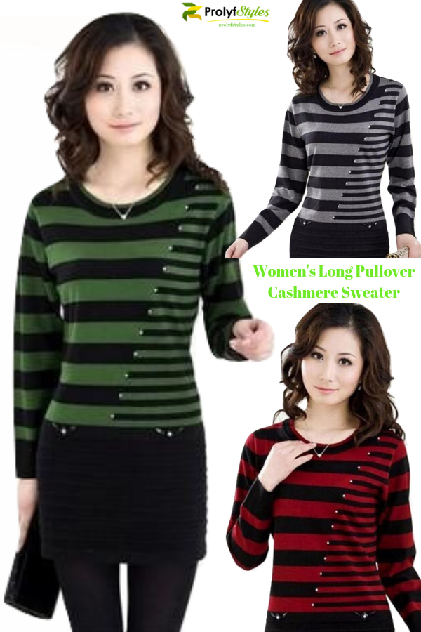 Women's Long Stripe Knitted Pullover Sweater Cashmere