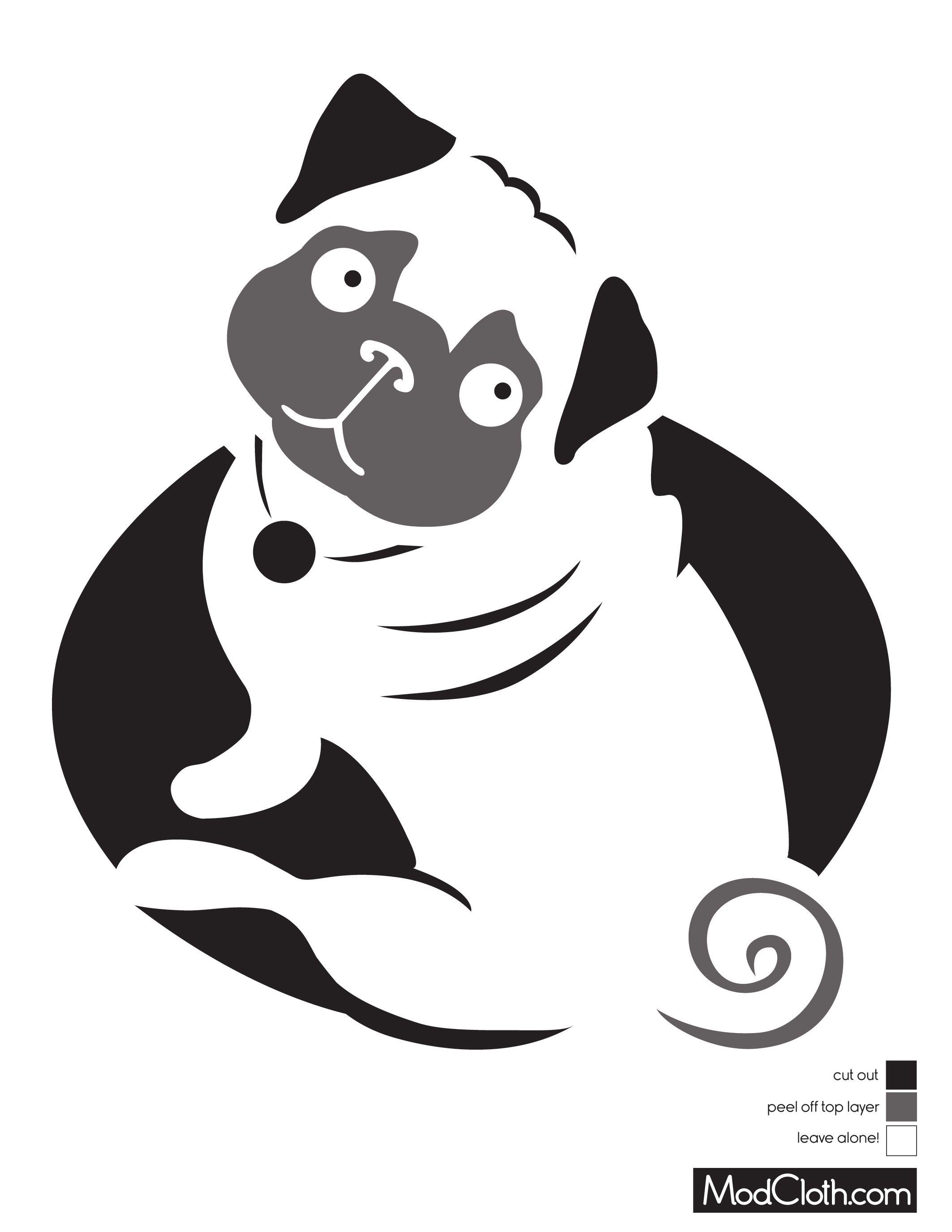 Pug Dog Silhouette Free Halloween Pumpkin Carving Stencil Design