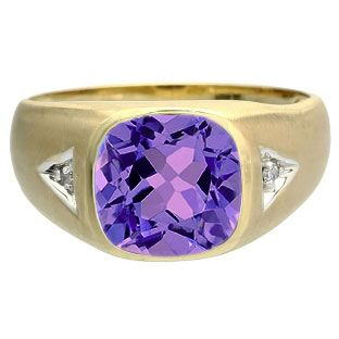 Antique Cushion Cut Amethyst Gemstone Diamond Men's Gold Ring Available Exclusively at Gemologica.com