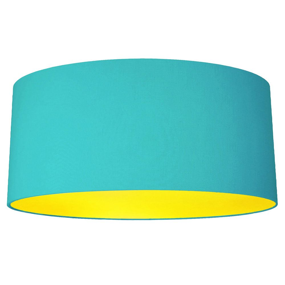 Quirk Ltd   45cm Turquoise Fabric Drum Lampshade With Choice Of Coloured  Lining, £60.00