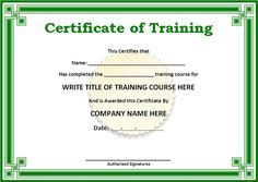 Training Certificate Templates for Word | ... on the download button ...
