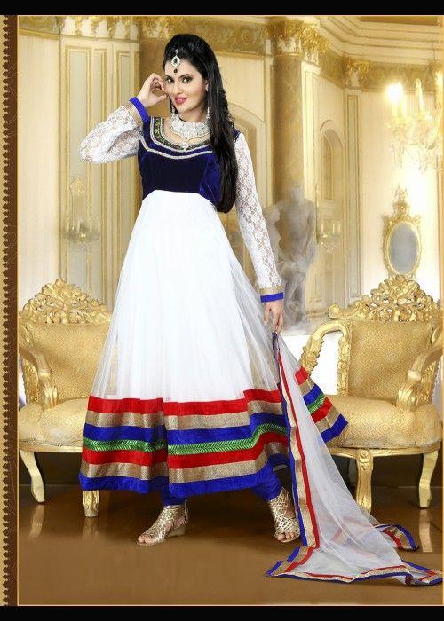 Adorable Royal Blue & White Salwar Kameez