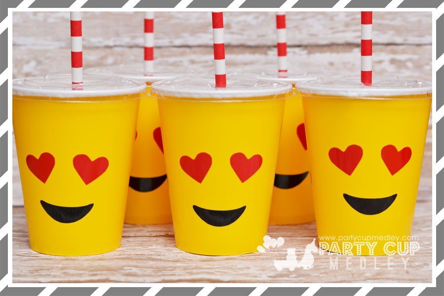 VASOS DE EMOJI Emoyi Party Pinterest Emoji Birthdays