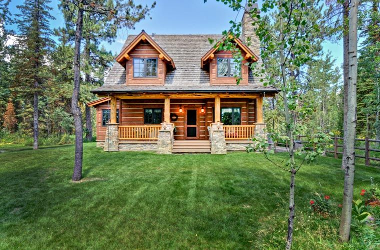 Cabin craftsman log house plan 43212 i love this small for Craftsman log home plans