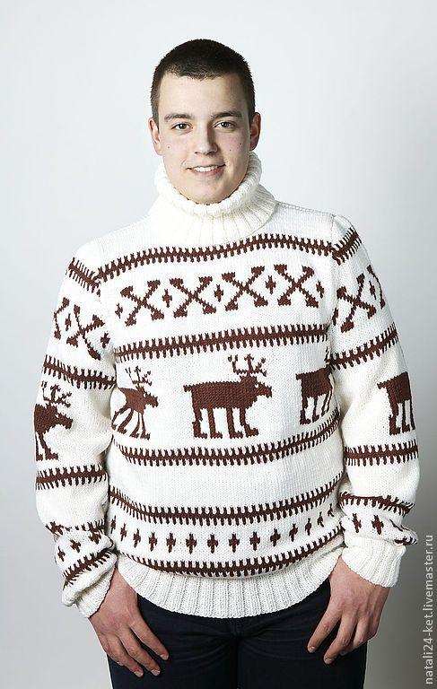 eb92404214e Купить свитер с оленями - белый