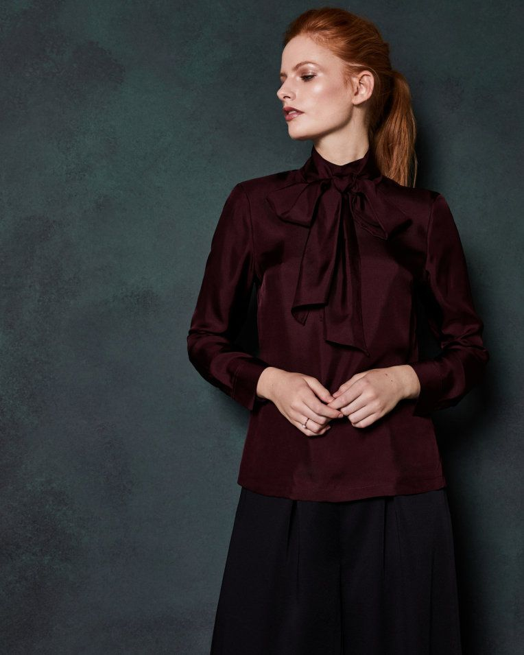 best sneakers best place lower price with Neck tie silk top - Maroon | Tops And Tees | Ted Baker in ...