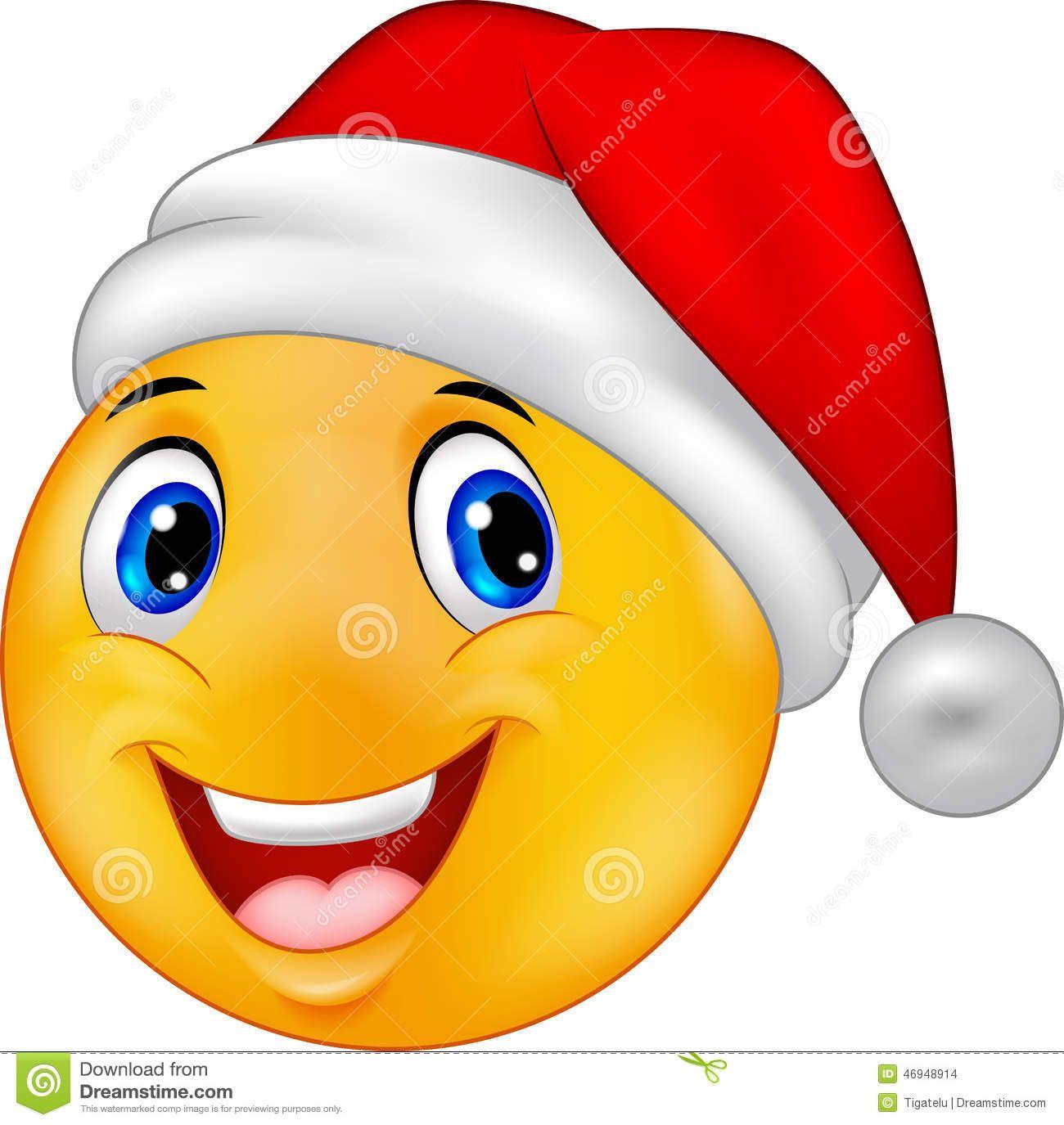 Smiling Smiley Emoticon In A Hat Santa Stock Vector