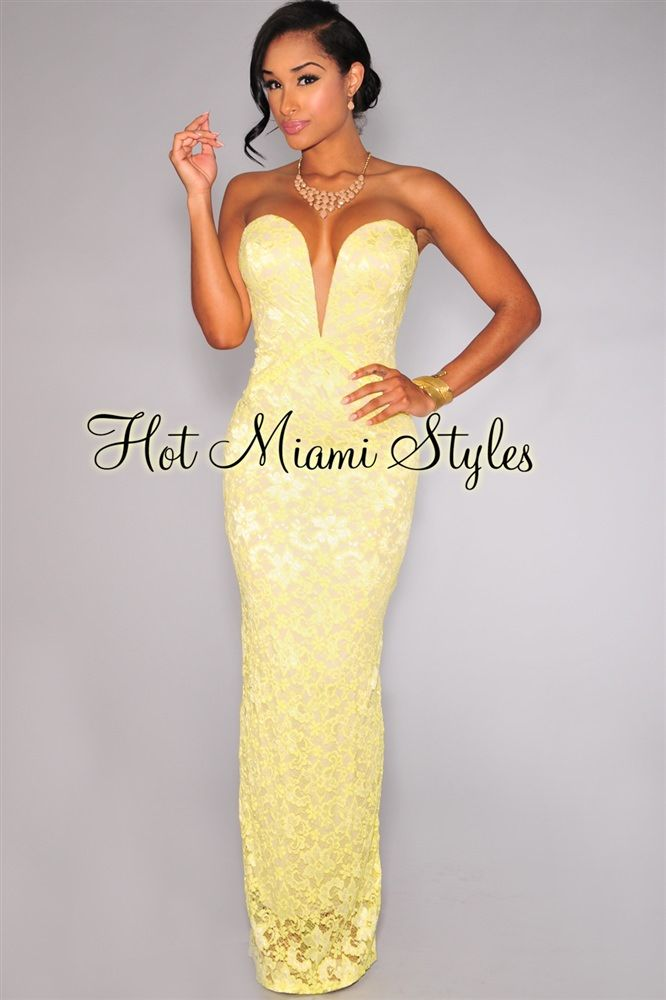 ff6a17684456b Citrus Lace Nude Illusion Plunging V Neck Strapless Gown   Formal ...