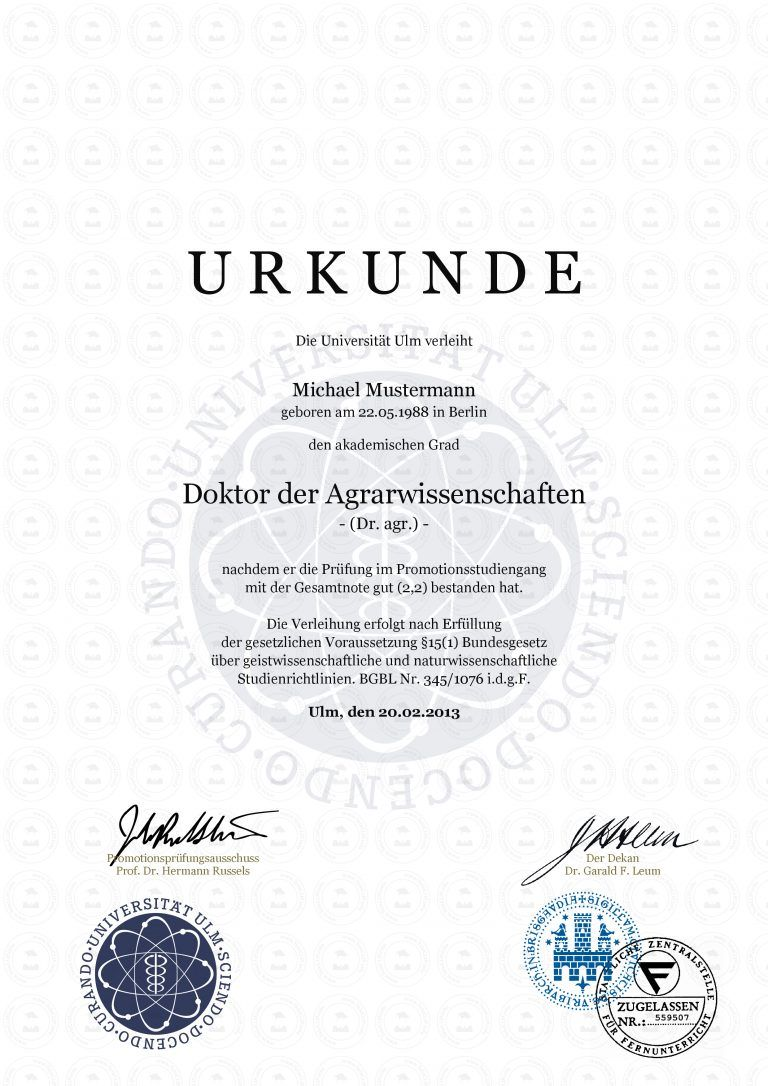 Doktortitel Universitat Ulm In Einer Rangliste Der Besten Universitaten Weltweit Doktortitel Von Universitat Ulm Ein Edles Ge Doktor Gesellenbrief Urkunde