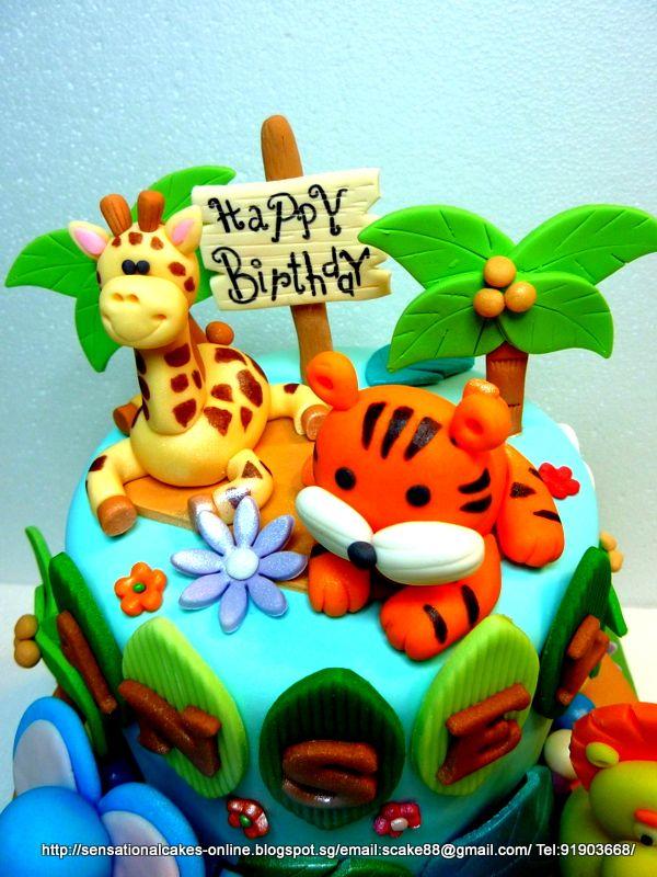 Phenomenal Safari Theme Cake Jungle Theme Cake Singapore 1St Birthday Funny Birthday Cards Online Amentibdeldamsfinfo