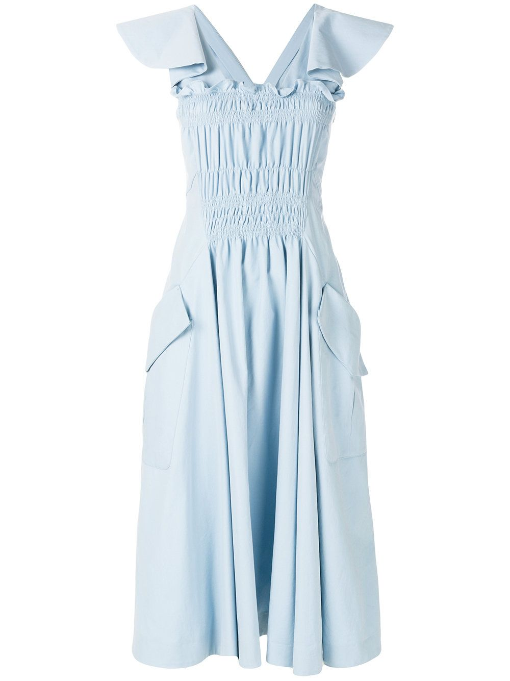 Clearance Latest Collections Fashion Style Cheap Online front ruffle midi dress - Blue Carven Free Shipping Cheap Online Sale Authentic Low Shipping cltSpH