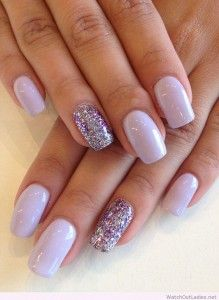Silver And Purple Glitter Nails