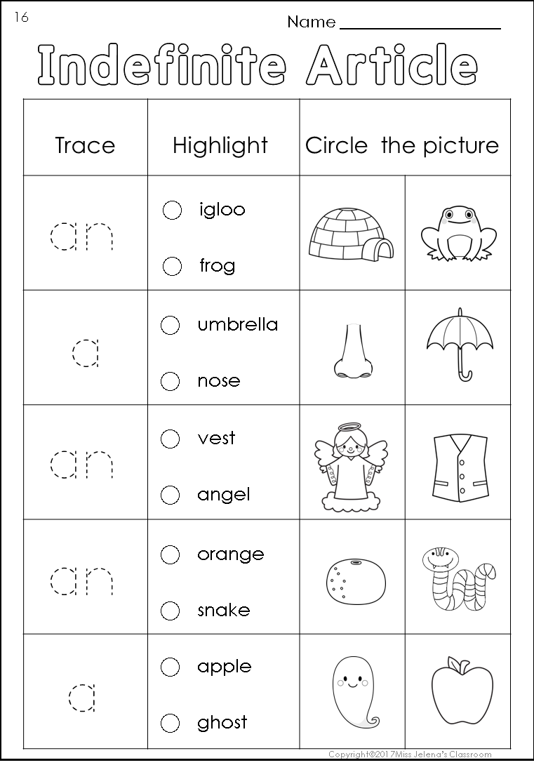 Free Sample Indefinite Article Worksheets English