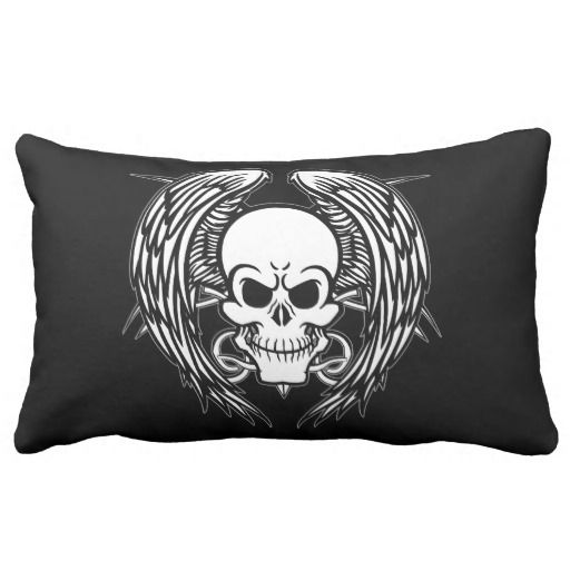 Grinning Tattoo Skull and Wings with Tribal Throw Pillows