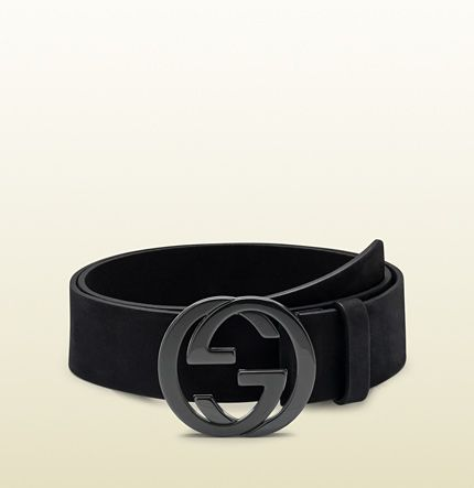 354a3985395 Gucci black leather belt with interlocking G buckle