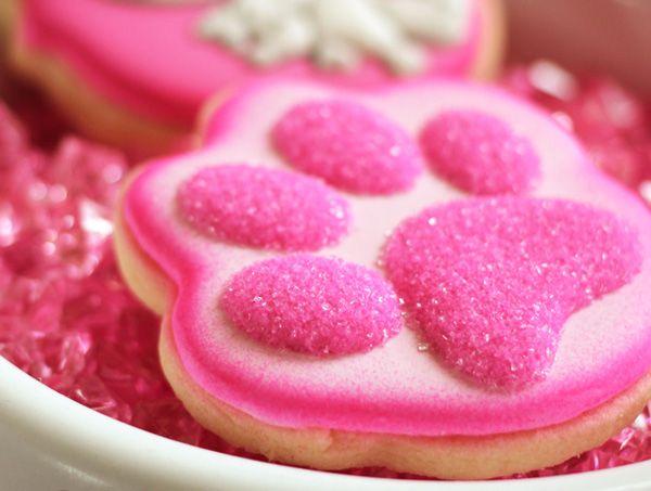 Paw print cookies (Kittylicious Pink Cat Birthday)