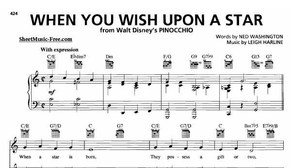 Download When You Wish Upon A Star Sheet Music Pinocchio