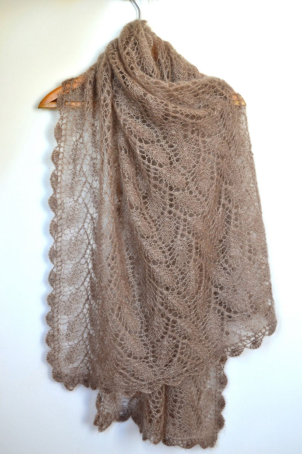 Very soft hand-knitted shawl/scarf (mohair & silk) by ...
