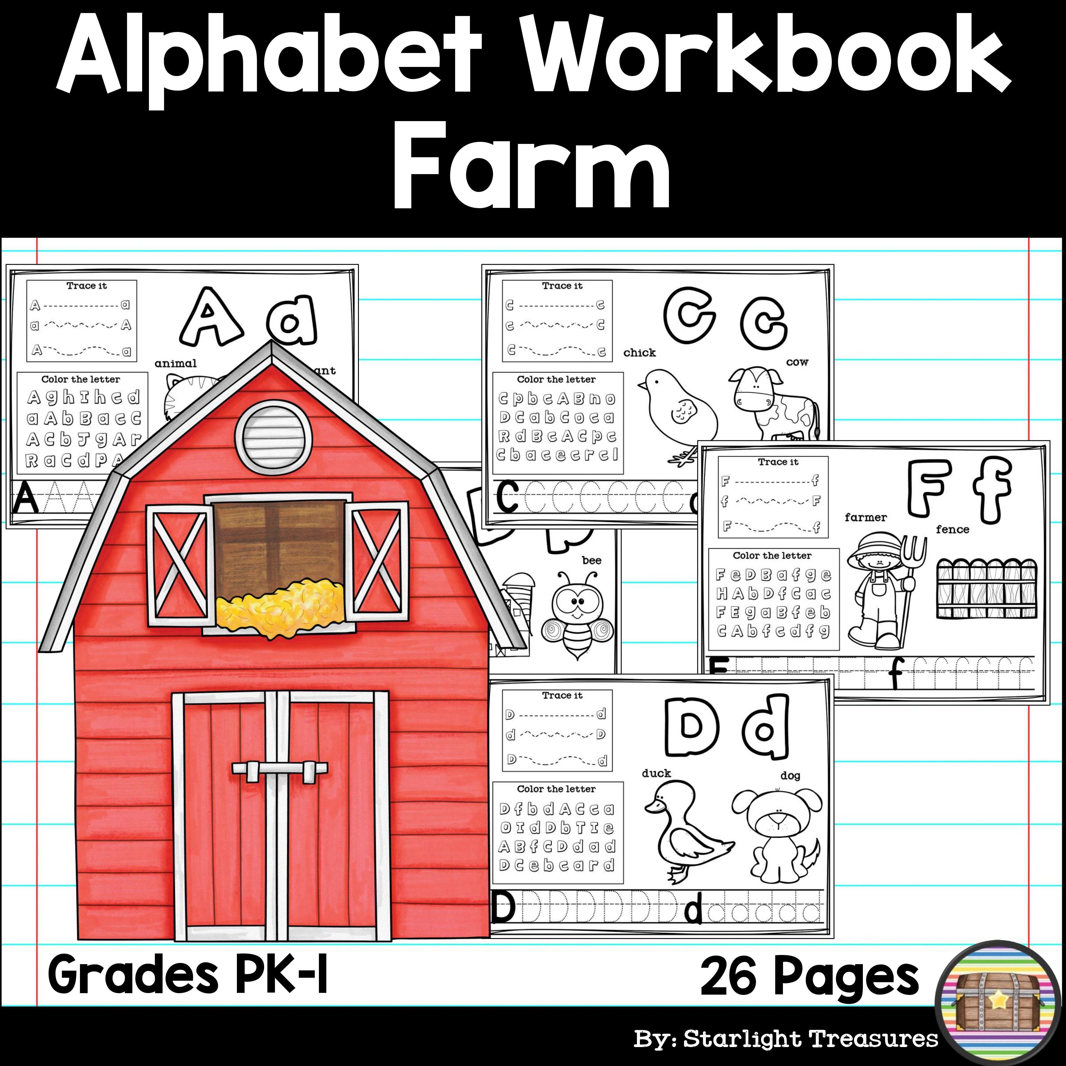 Alphabet Workbook Worksheets A Z Farm Theme