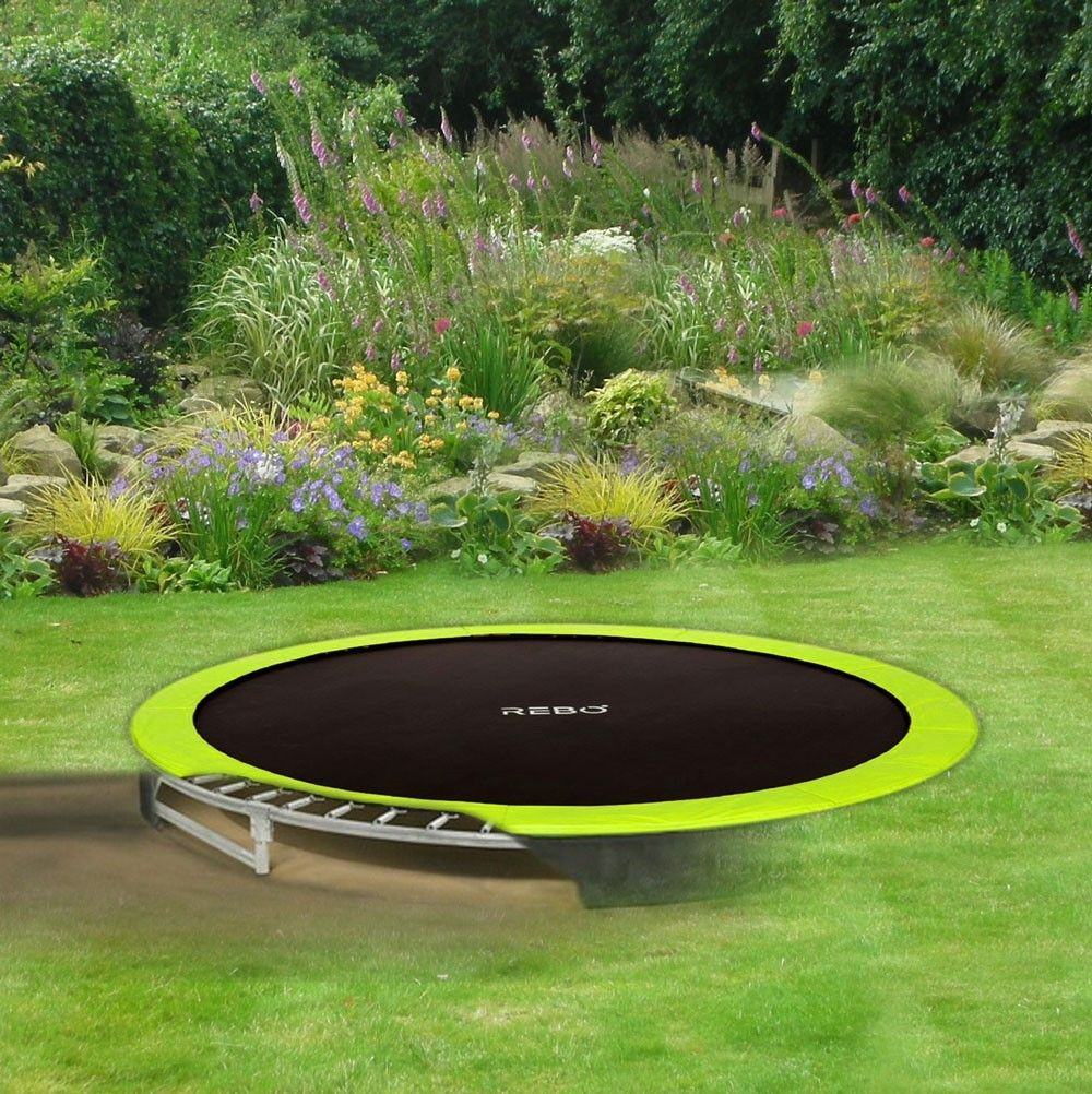 Rebo Base Jump 12ft Inground Trampoline Backyard Trampoline Backyard Trampoline