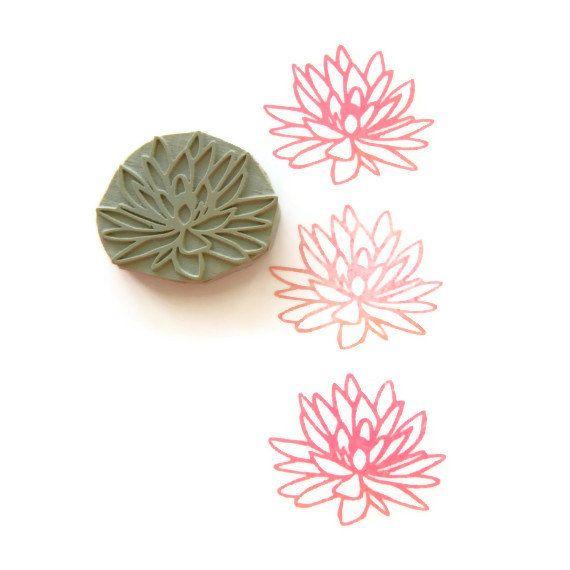 Rubber Stamp Lotus Flower | Hand Drawn Flower Blossom Stamp #lotusflower
