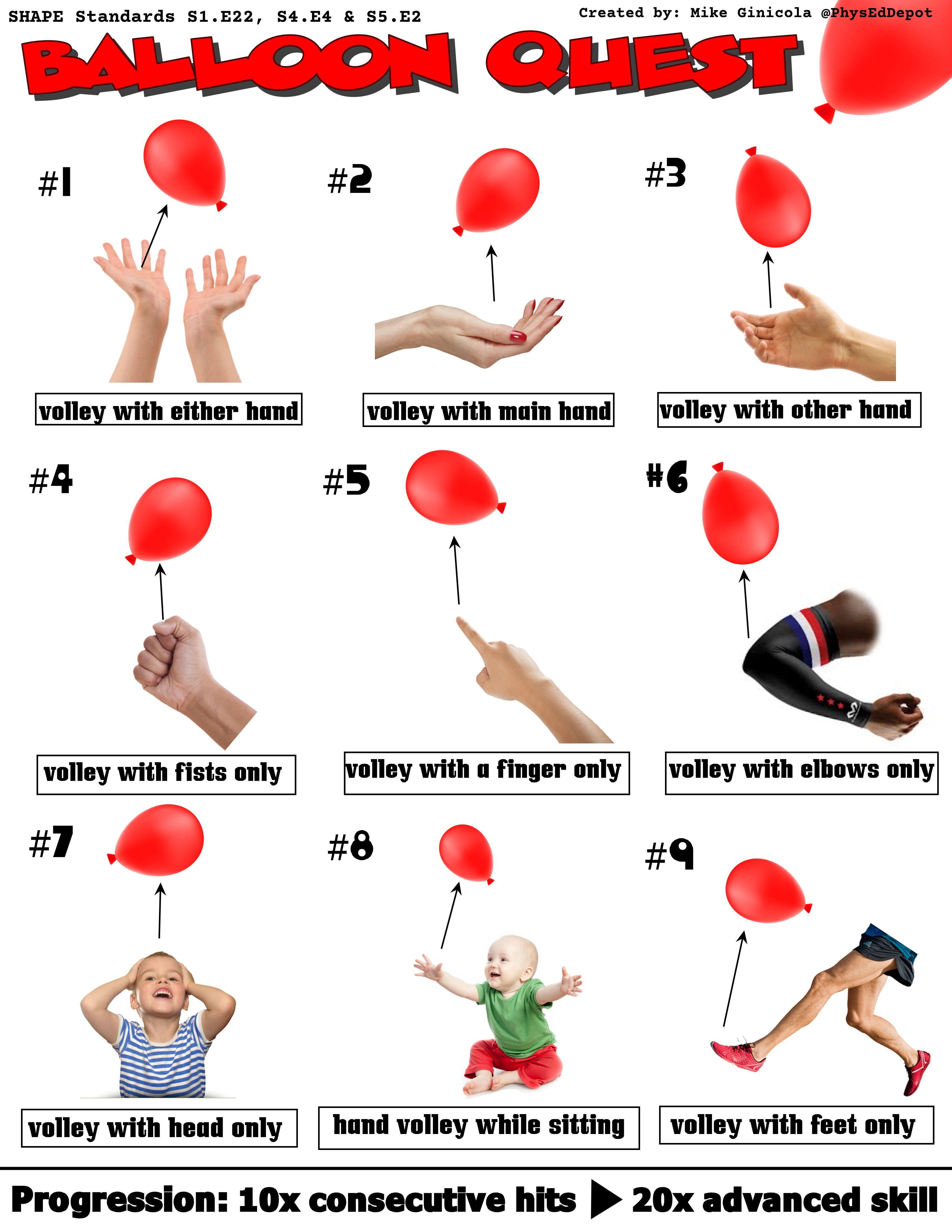 Balloon Quest Self Guided Progression Physical Activities For Kids Educational Games For Kids Elementary Physical Education