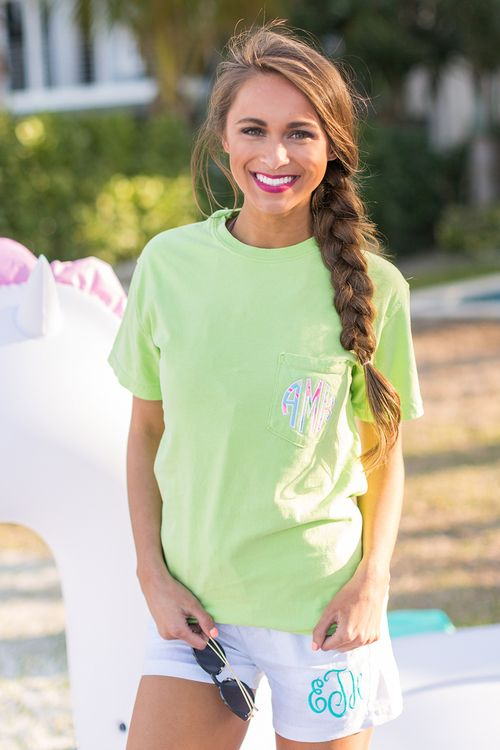 Comfort Colors Personalized Pocket Tee Neon Light Green The Pink