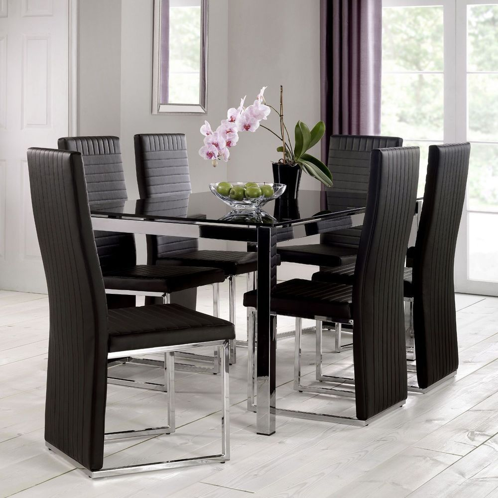 High Quality 6 Seater Dining Set Rectangular Glass Table Faux Leather Dining Chair  Furniture