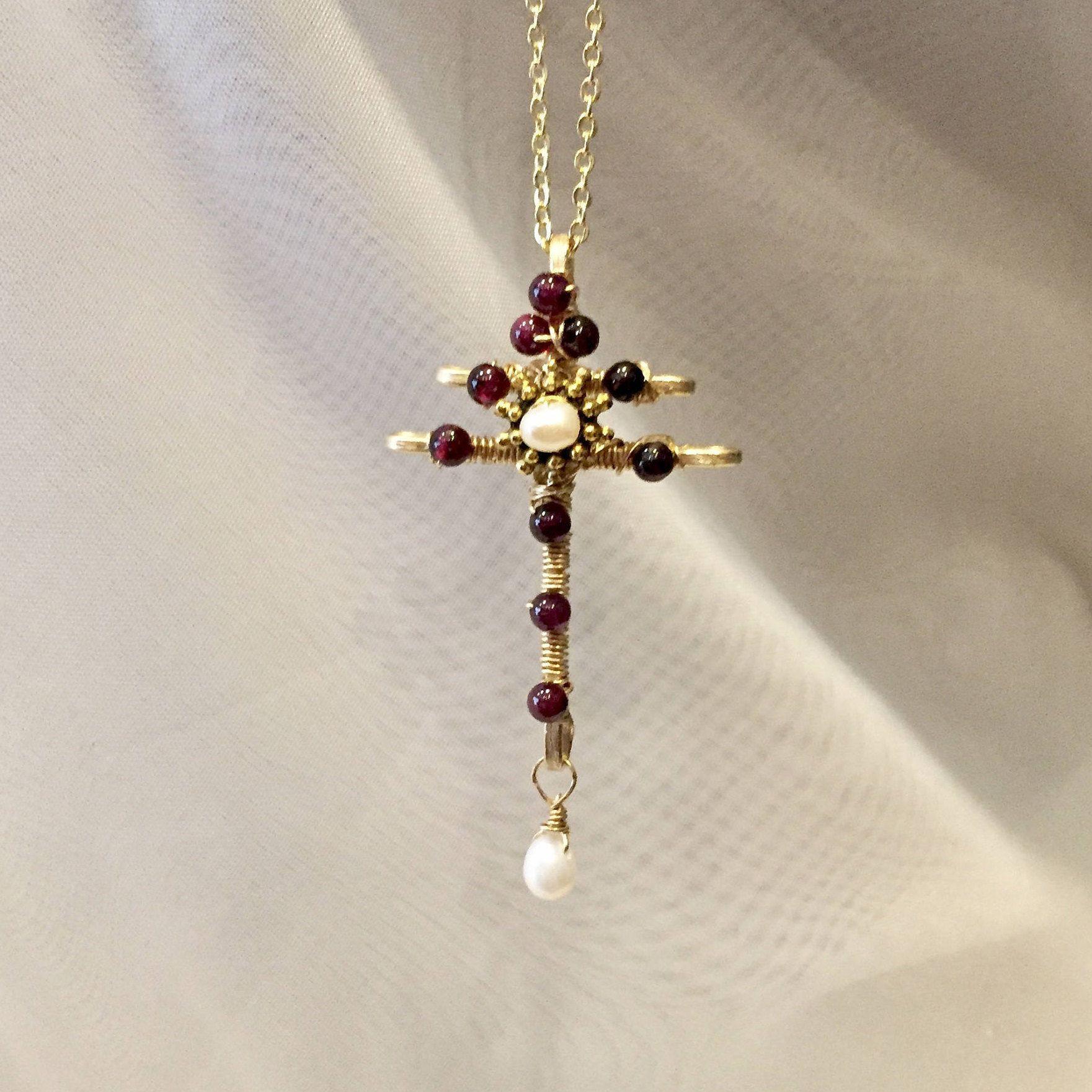 Lorraine cross-garnet cross necklace-wire wrapped beaded cross ...