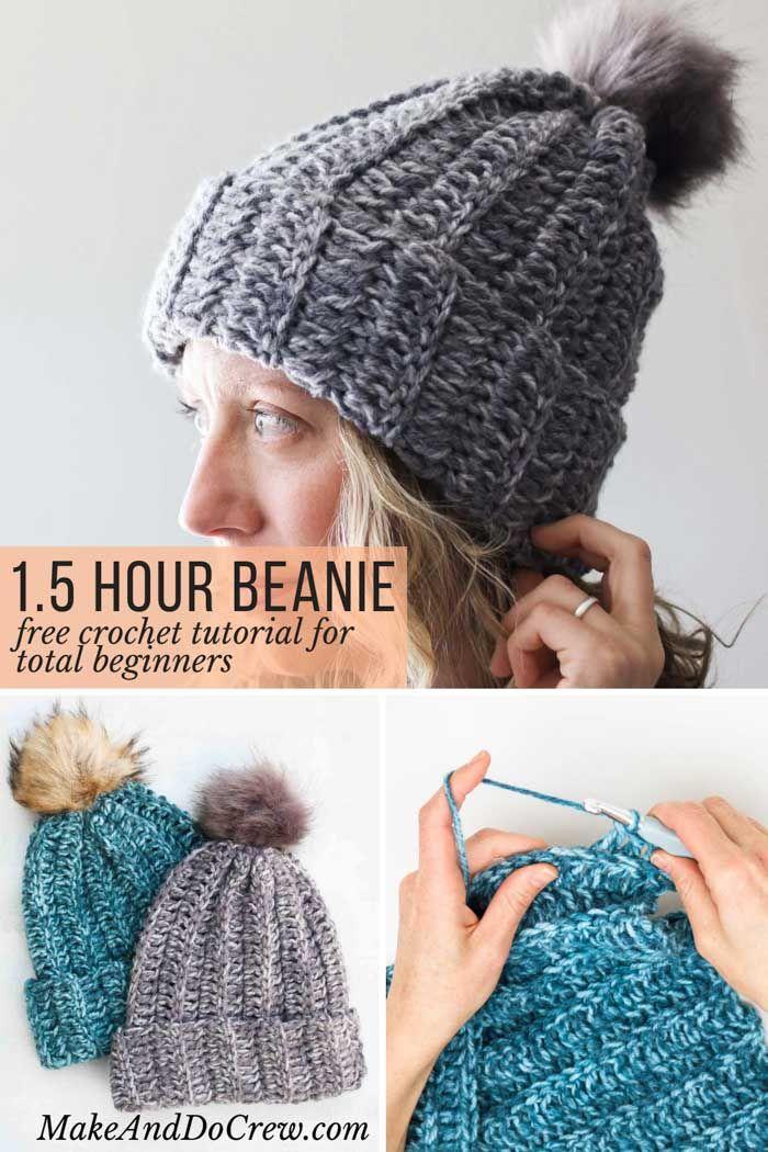 One Hour Free Crochet Hat Pattern for Beginners (+ Video Tutorial) #crochethatpatterns
