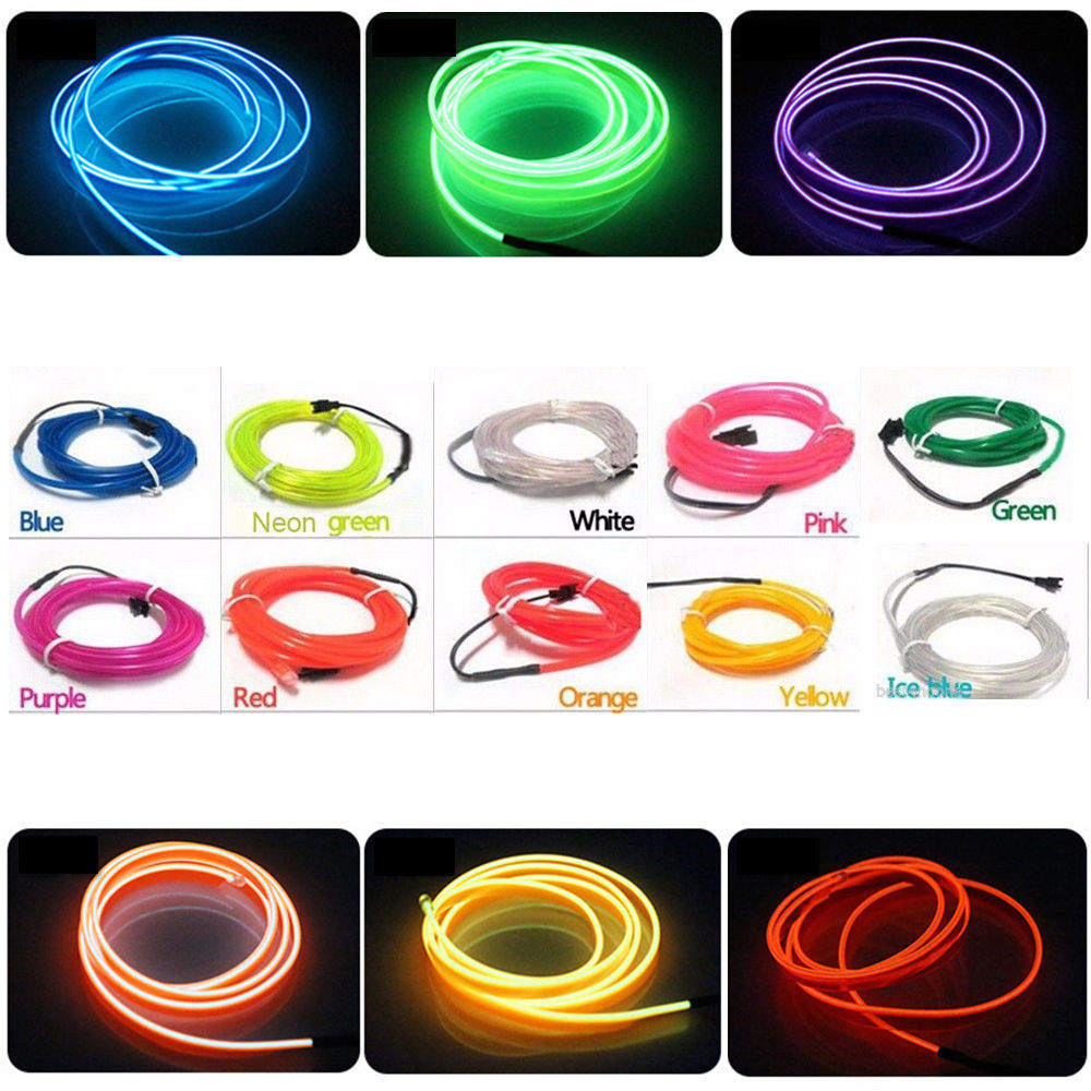 Light Glow El Wire Rope Cable Strip Car Auto Room Party Decor Lamp ...