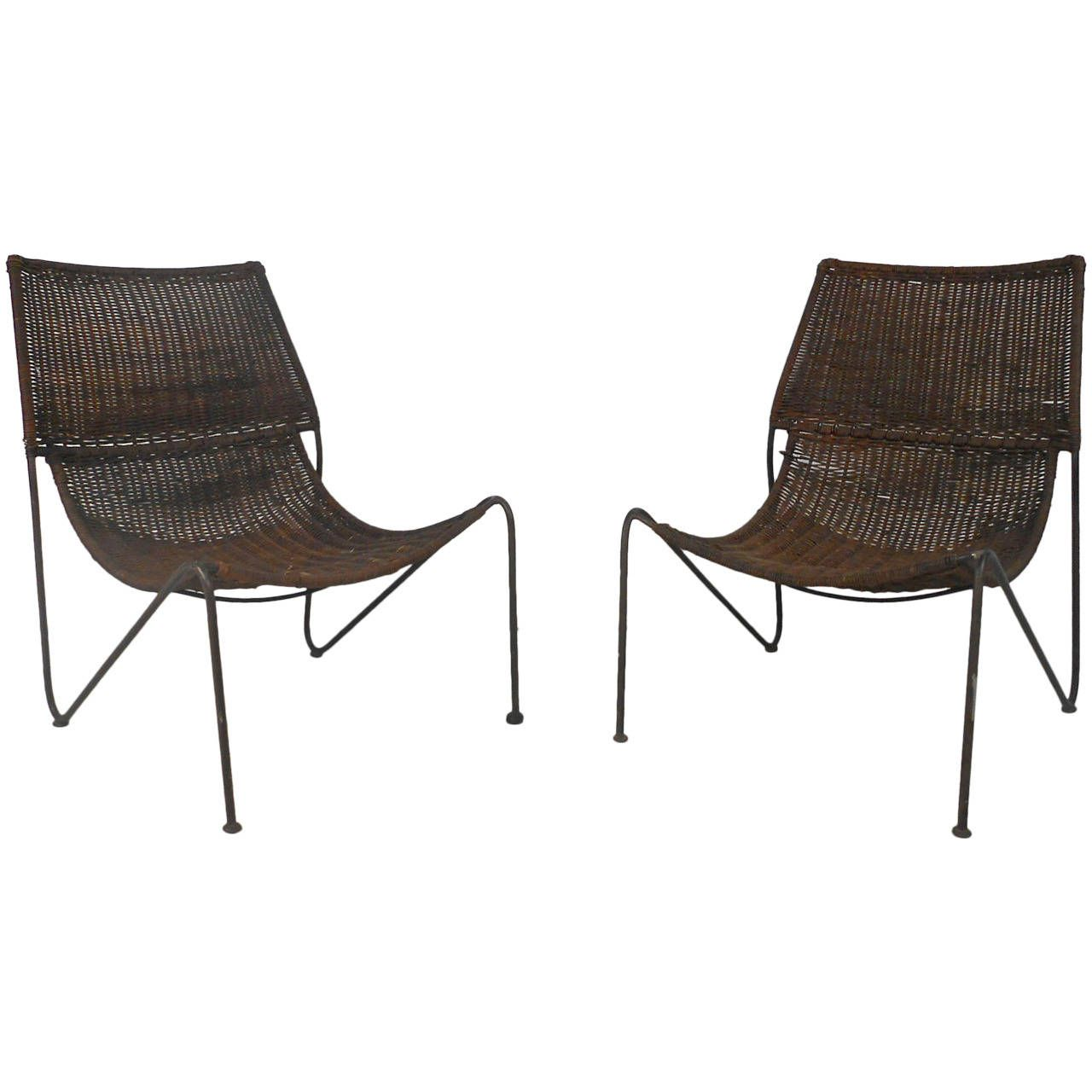 Modern sling chairs - Pair Mid Century Modern Wicker And Iron Frederick Weinberg Sling Scoop Chairs From A