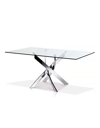 Home Furniture Ellis Rectangular Glass Top Dining Table