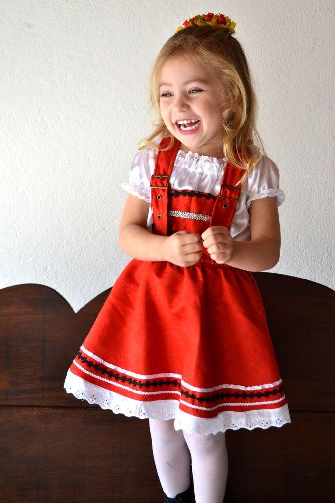 Traje Alemão Vermelho Suspensório - INFANTIL  92bc4bffa28