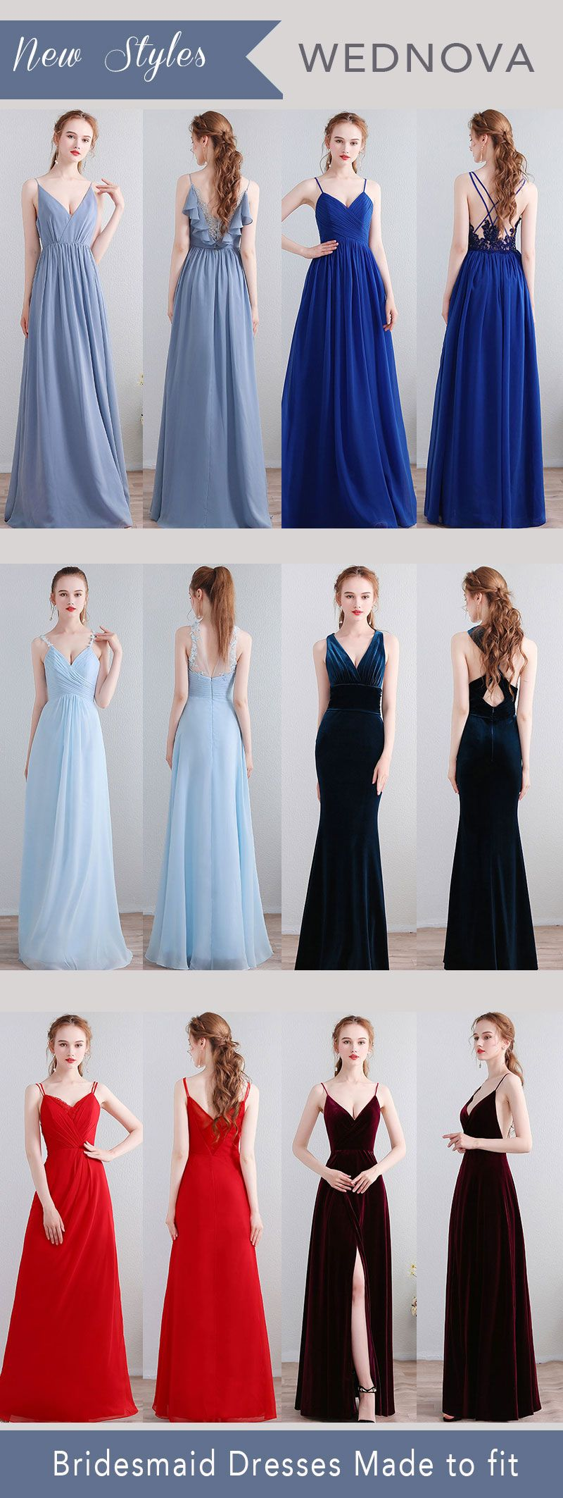 New styles chiffon bridesmaid dresses blue sexy back dress velvet