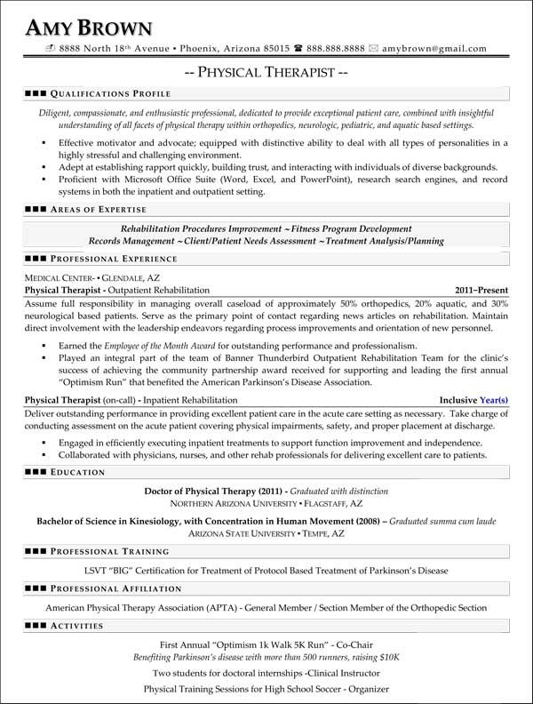 Physical Therapy Resume Example | Physical Therapist