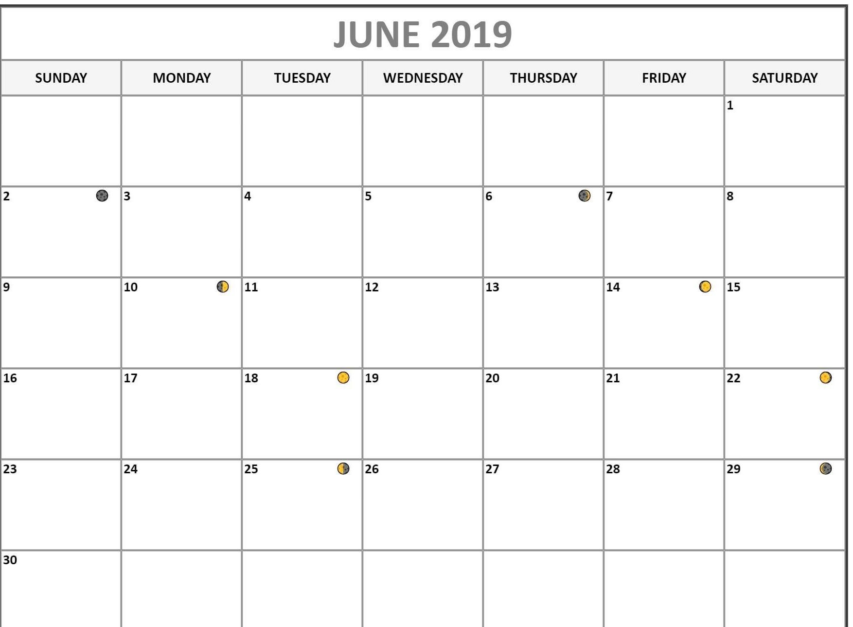 Lunar New Full Moon Phases For June Calendar Month