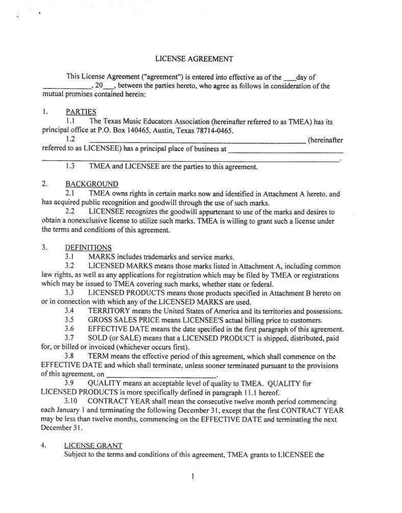 Brand licensing agreement template free printable in 2020
