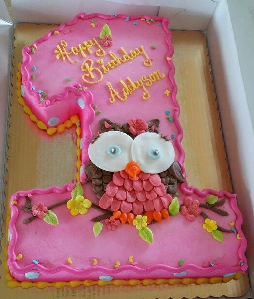 First birthday owl cake shaped numbercakes Pinterest Owl