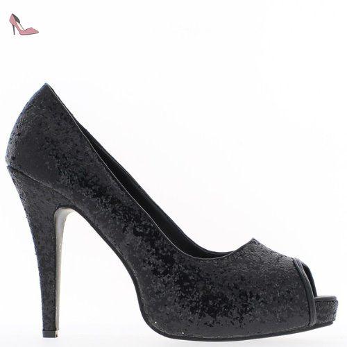 c169e3a712db Escarpins femme grande taille noirs pailleté à talon de 13cm bout ouvert -  44 - Chaussures