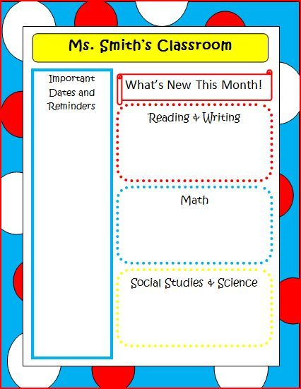 Dr Seuss Newsletter Template  Classroom Deco Ideas