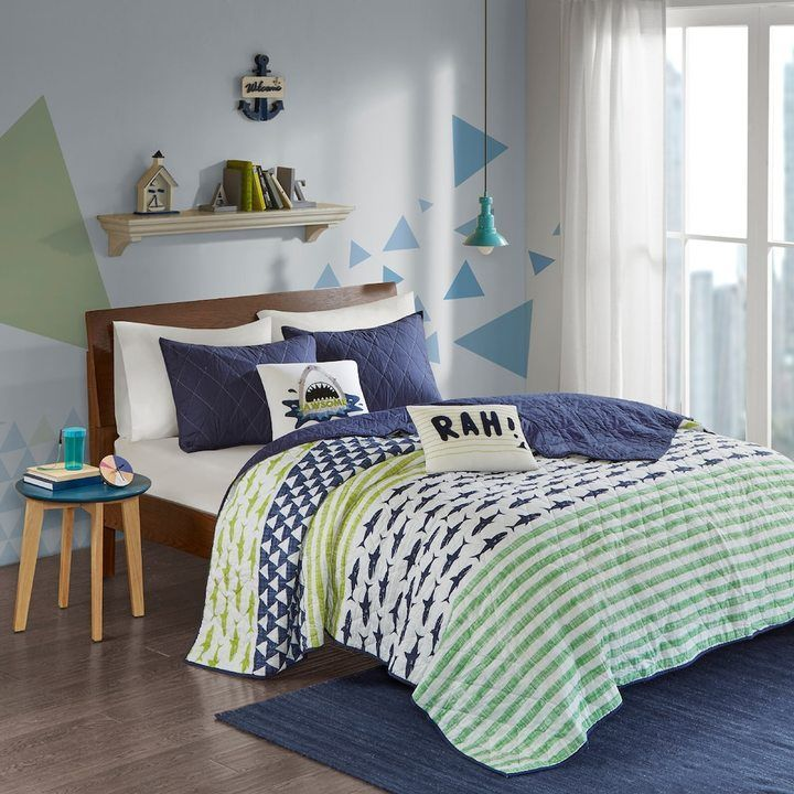 Best Urban Habitat Kids Aaron Shark Coverlet Set Coverlet 400 x 300