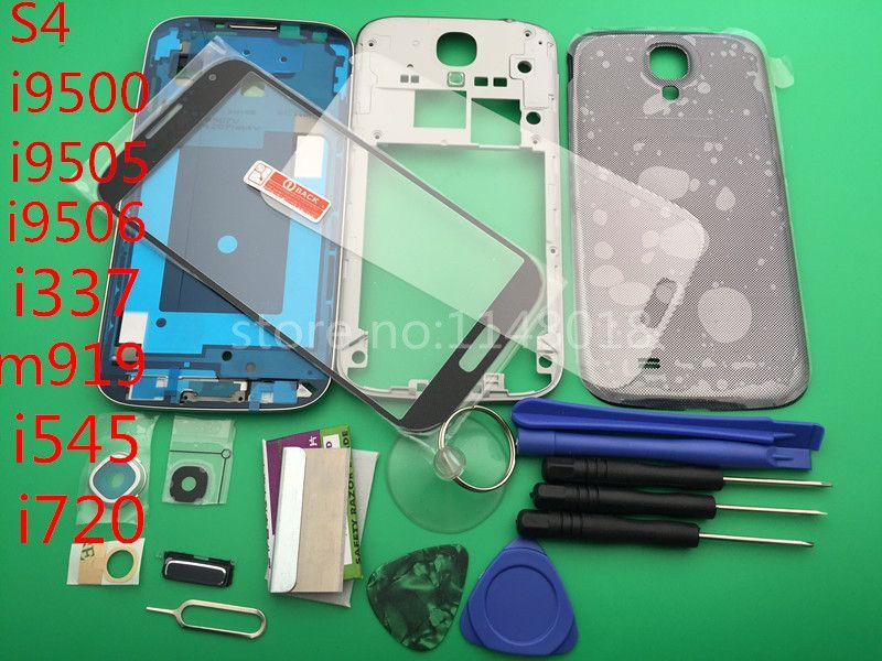 Full Housing Case Middle Frame+Rubber Seal Back Cover+Glass+Protective film Replacement Parts For Samsung S4 i9505+10 pcs tool