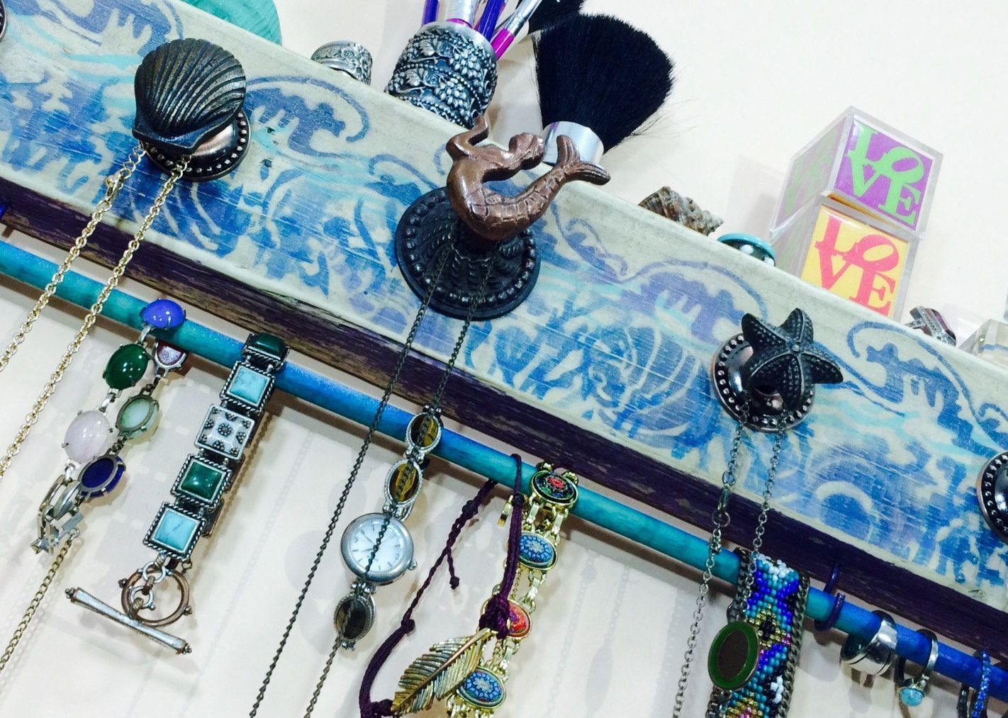 Necklace holder jewelry organizer reclaimed wood art decor wall